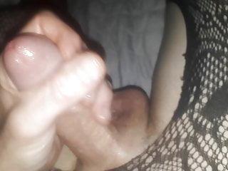 Big cum shots jerking off cock masturbating black lingerie