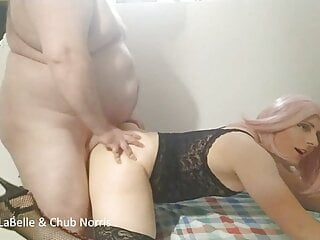 transvestite sissy fag in high heels fucked by chubby daddy