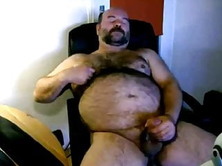 Chubby jerking his cock...