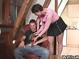 Horny not mother in law fucks him