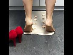 Nylon feet painful hot candles crushing