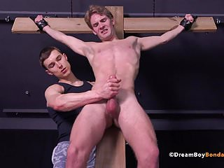 Twink crucified uncut cock bondage whipping...