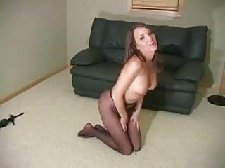 Pussy is inviting through sheer pantyhose joi...