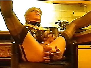 Old sexy slut in black fully fashioned nylons...