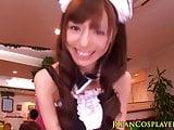 Japanese cosplay maid sucking bloke off