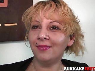 Kinky blonde milf sucks random big cocks in...