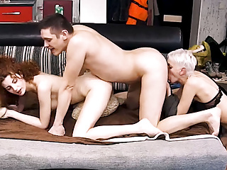 Blonde busty milf with short hair action with...