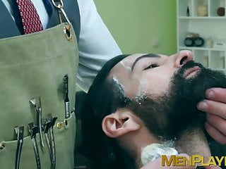 Bearded businessman Miguel Angel bareback barber banging