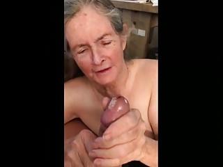 Granny makes handjob for eat sperm 02...