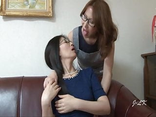 Mature Japanese Maid Kisses Housewife With Passion