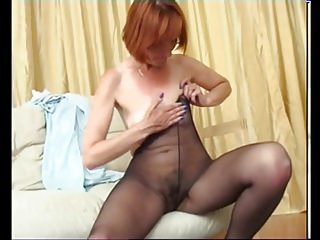Mature pantyhose hairy pussy solo...