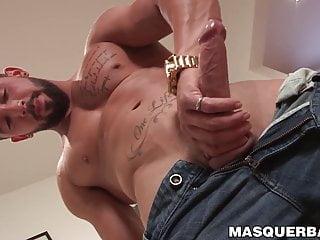 Bearded hunk Zack Lemec solo jacks off his big hard dick