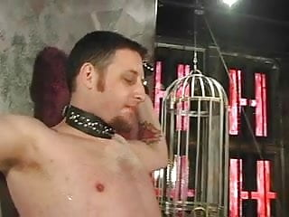 Two sexy dominatrix girls whip a guys ass...