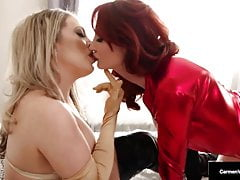 Costumed Lovers Carmen Valentina and Kendra James Lick Pussy!