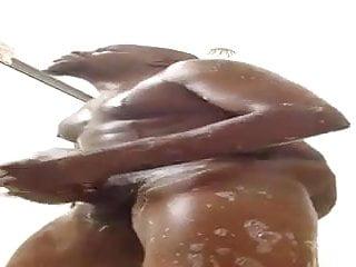 Str8 black stud jerks off in the shower