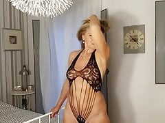Mature lady in a sexy lace body