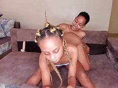 Ebony lesbo is twerking on my face