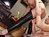 Stockinged japanese tgirl takes cum in mouth