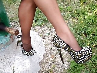 My Legs in Nylon Tights! Lacquer Skirt! High heels!