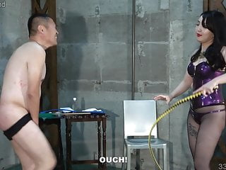 Dominatrix and Japanese Handjob Femdom Whipping
