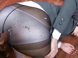 Blue 100 Nylon Panties And Pantyhose Cumshot