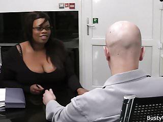 Ebony plumper sucks and rides cock for job...