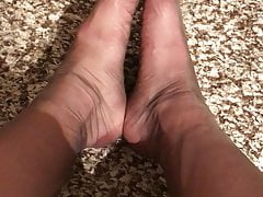 Sexy nylon feet red nails