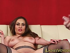 Clothed busty milf watching