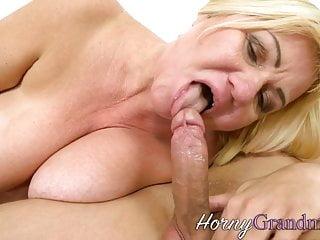 Grandma gets her big boobs cum sprayed