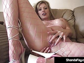 Pretty Housewife Shanda Fay Smashes Dildo In Fishnet BodyStocking