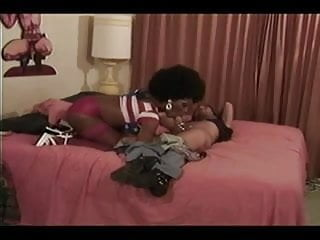 Sexy black tranny vintage interracial sex...