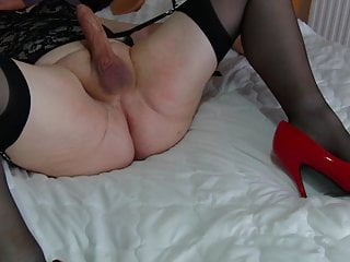 Mature tvrose crossdresser flogged on girly balls...