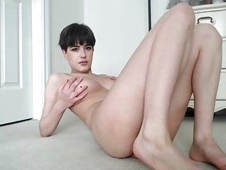 short-haired skinny geek girl with big tits in cam show