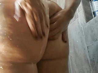 Sweet fatty toying in the shower