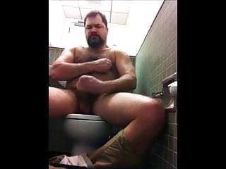 Hairy Bear Solo in Public Toilet