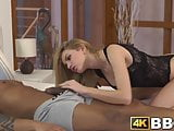 Young goddess rides stud passionately in interracial banging