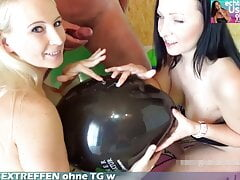 Balloon Group Sex foursome with German brunette and blonde