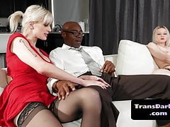 Trans Honey Barebacked By Big Black Cock In Bi-racial Trio