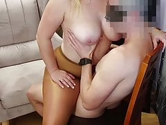 Sex on chair with my busty wife in shiny pantyhose