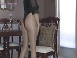 mature blonde playing in glossy pantyhose