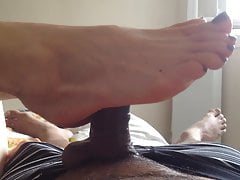 little footjob with blue toes – no cum