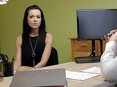 Loan4k. Skinny Donkerharige Passes Real Sex Audities At Loan Agen