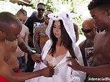 Melissa Moore gets bukkake with 14 black guys