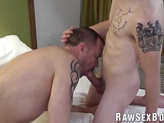 Mature homosexual rimmed and barebacked by tattooed twink