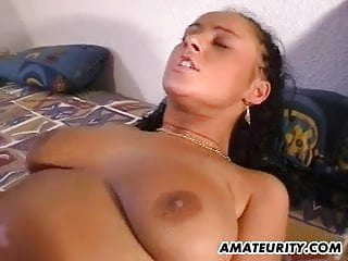 Busty amateur girlfriend sucks and fucks with cum