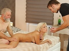 DADDY4K. Naughty old man drags sons blonde GF into unplanned