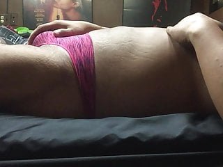 Pink thong masturbation