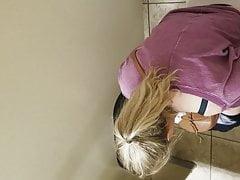 Gas Station Toilet Voyeur XVII (Yoga Blonde)