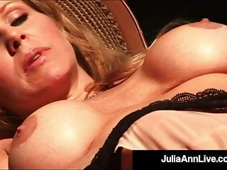 Scortching hot Busty Milf Julia Ann Finger Bangs Hole In Scortching hot Fishnets!