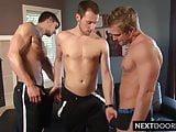 Three muscular gays are ass fucking and cock sucking